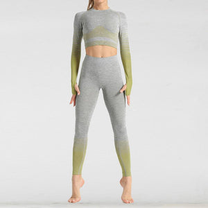 The Extreme Velocity Slimming Gradient Push-Up High-Waisted Seamless Yoga Gym Leggings & Long Sleeve Crop Top (LIMITED EDITION) Yoga Sets AJISSI Sportwear Store Light Olive Moss Green Long Sleeve Set (2 pcs) S