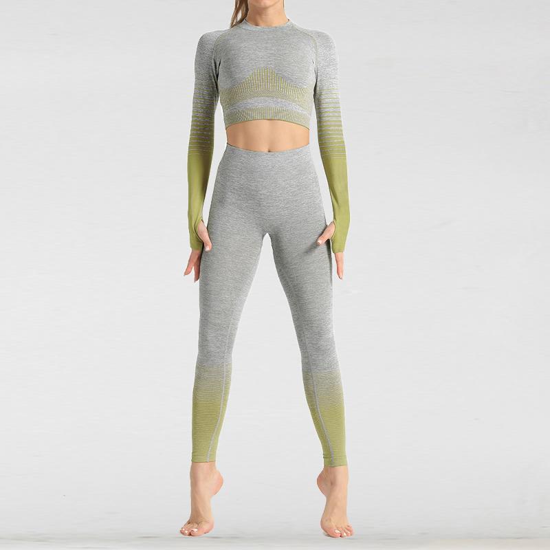 The Extreme Velocity Slimming Gradient Push-Up High-Waisted Seamless Yoga Gym Leggings & Long Sleeve Crop Top (LIMITED EDITION) (For Bundling) Yoga Sets AJISSI Sportwear Store Light Olive Moss Green Long Sleeve Set (2 pcs) S