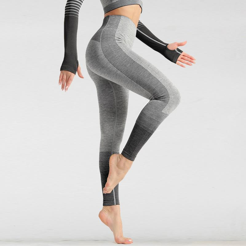 The Extreme Velocity Slimming Gradient Push-Up High-Waisted Seamless Yoga Gym Leggings & Long Sleeve Crop Top (LIMITED EDITION) Yoga Sets AJISSI Sportwear Store Black Fox Ninja Leggings (1 pcs) S