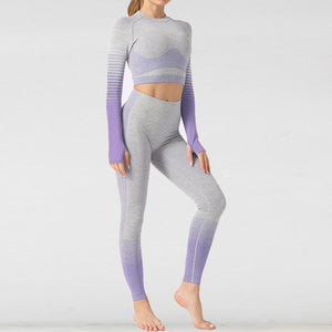 The Extreme Velocity Slimming Gradient Push-Up High-Waisted Seamless Yoga Gym Leggings & Long Sleeve Crop Top (LIMITED EDITION) (For Bundling) Yoga Sets AJISSI Sportwear Store Calming Purple Lavender Long Sleeve Set (2 pcs) S