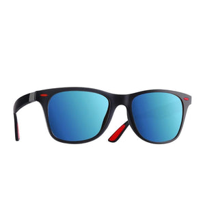 The Red Tipped Lightweight Classic Polarized Unisex Square Eyewear glasses Men's Sunglasses AOFLY Official Store Matte Blue Mirror