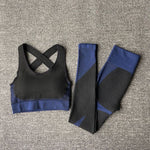 The Warrior Goddess Yoga Gym Seamless High-Waisted Ultra Performance Leggings Sports Bra and Mock Neck Crop Jacket Home AJISSI Sportwear Store Sapphire Navy Set (Mock Neck Long Sleeve Crop Jacket Not Included) (2 pcs) S