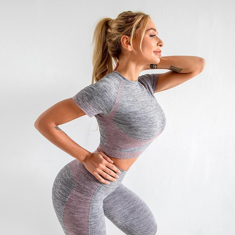 The Extreme Velocity Slimming Gradient Push-Up High-Waisted Seamless Yoga Gym Leggings & Short Sleeve Crop Top (For Bundling 3) Yoga Sets AJISSI Sportwear Store