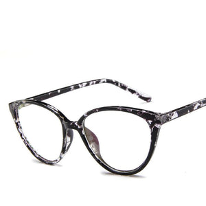The Transparent Flower Child Retro Cat Eyeglasses Frames Men's Eyewear Frames KOTTDO Official Store Black Flower