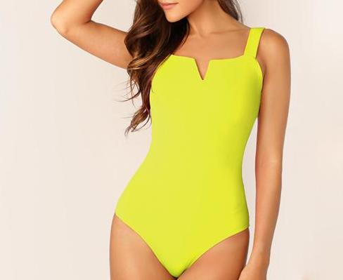 The Minimalist Super Cute V Cut Slimming Bodysuit Bodysuits SheIn Official Store Neon Yellow XS