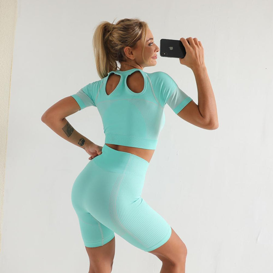 The Yogi Biker Chick Seamless Peek-A-Boo Crop Top T-Shirt and High-Waisted Shorts Yoga Sets AJISSI Sportwear Store