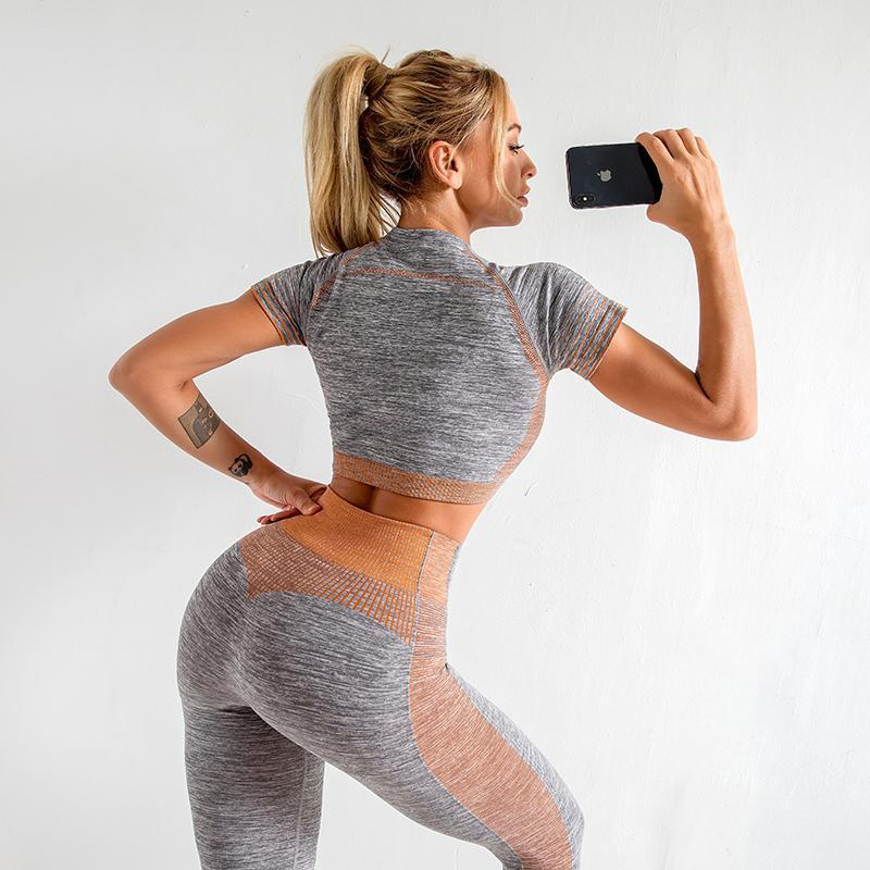 The Extreme Velocity Slimming Gradient Push-Up High-Waisted Seamless Yoga Gym Leggings & Short Sleeve Crop Top (For Bundling 4) Yoga Sets AJISSI Sportwear Store