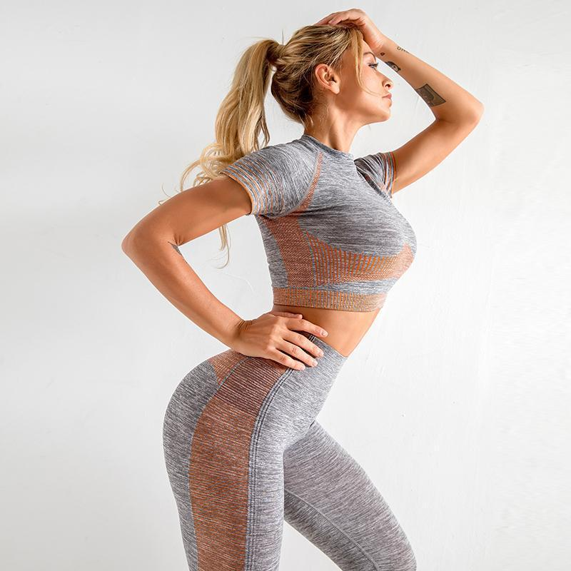 The Extreme Velocity Slimming Gradient Push-Up High-Waisted Seamless Yoga Gym Leggings & Short Sleeve Crop Top (For Bundling 2) Yoga Sets AJISSI Sportwear Store