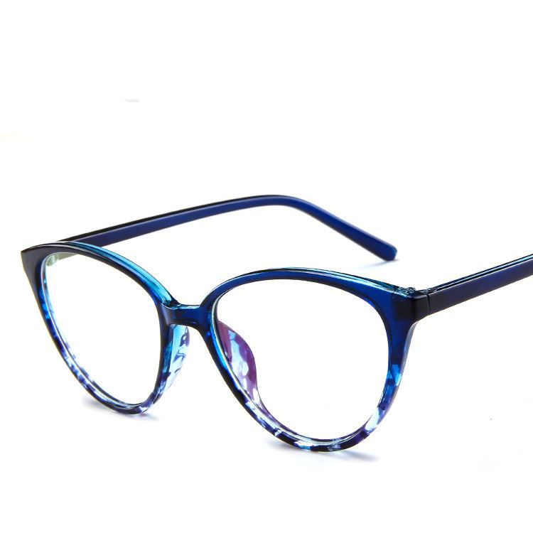 The Transparent Flower Child Retro Cat Eyeglasses Frames Men's Eyewear Frames KOTTDO Official Store Blue