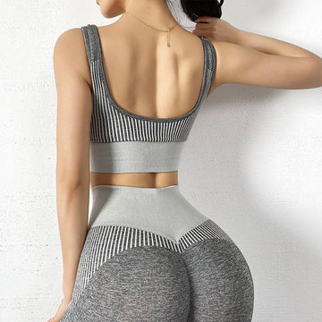 The NASCAR Racer Gradient Seamless Push-Up High-Waisted Scrunch Butt Yoga Gym Leggings & Sports Bra Yoga Pants hearuisavy Official Store Charcoal Grey Set (2 pcs) S