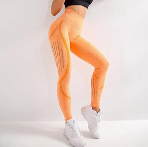 The All-Season Razor Contoured High Waist Seamless Yoga and Gym Leggings Yoga Pants AJISSI Sportwear Store Romantic Sunset Orange Razor S