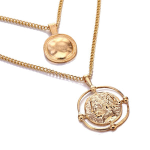 The Bohemian Gladiator Vintage Retro Medallion Coin Double Layer Golden Pendant Necklace Pendant Necklaces AILEND Official Store