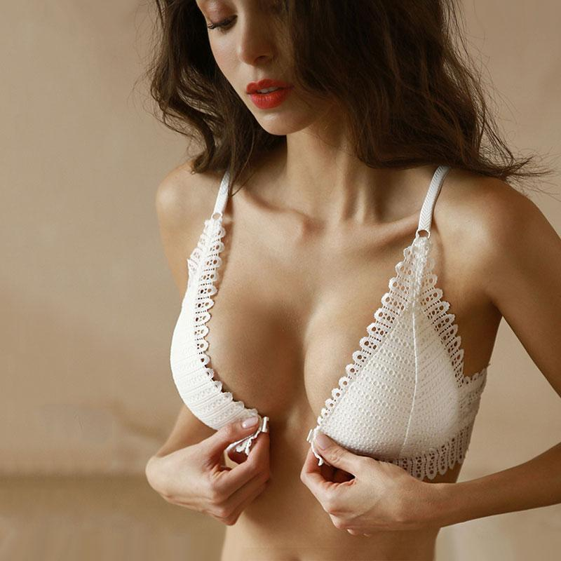 The Boho Chic Eyelet Lace Wireless Push Up Bralette Crop Top Bras DeRuiLaDy Official Store Fluffy White Cumulus 70A