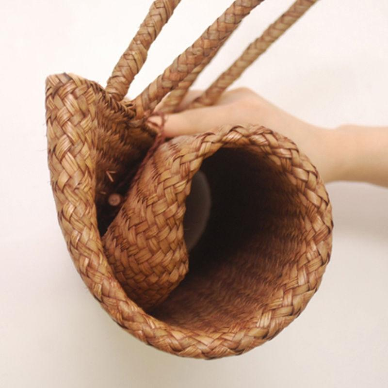 The Minimal Bohemian Handmade Knitted Woven Straw Large Tote Top-Handle Bags feels good good Store