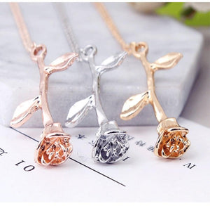 The Flowering Mystical Magical Golden Rose Necklace Pendant Necklaces 2016 women all Accessories