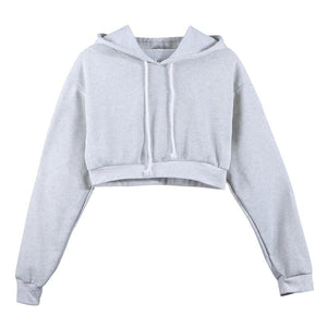 The Must-Have Over-sized Crop Hoodie Hoodies & Sweatshirts Rosie Design Store Gray S