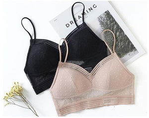 The Femme Fatale Lace Low Back Dot Mesh Crop Top Bralette Bras DM factory Store
