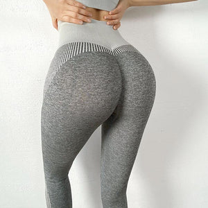 The NASCAR Racer Gradient Seamless Push-Up High-Waisted Scrunch Butt Yoga Gym Leggings & Sports Bra Yoga Pants hearuisavy Official Store Charcoal Grey Push Up Leggings (1 pcs) S