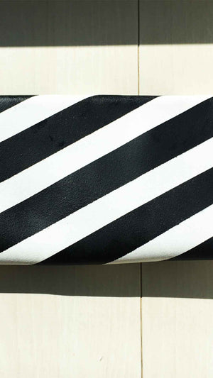 Monochrome Diagonal Stripe Neat Leather Clutch/Bag