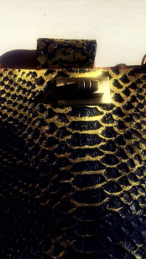 Metallic Gold Alligator Leather Tote Bag