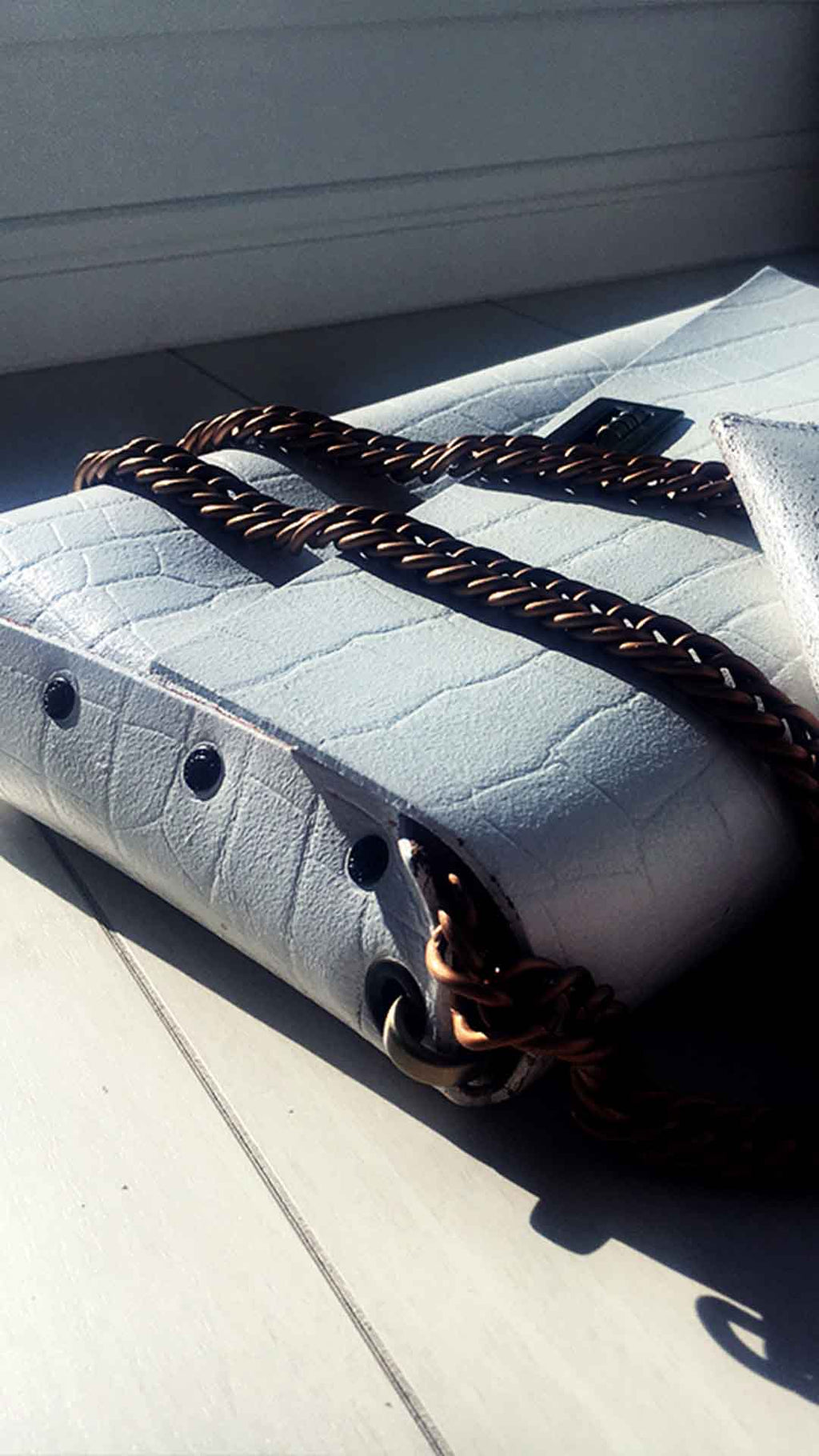 Alligator White Leather Bag