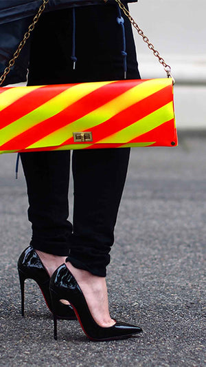 Yellow and Red Diagonal Stripe Leather Clutch/Bag