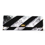 Monochrome Diagonal Stripe Leather Clutch/Bag