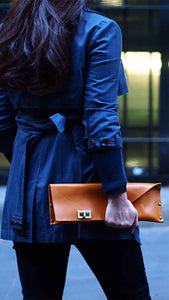 Classic Brown Leather Clutch