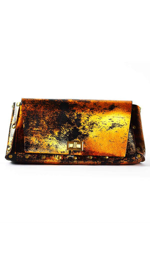 Metallic Copper Leather Bag