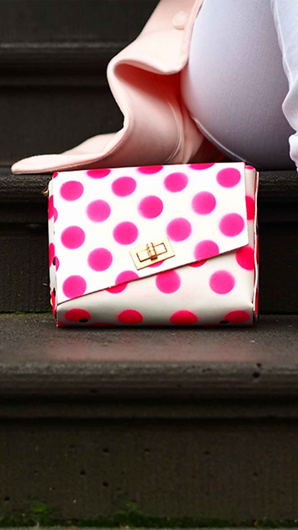 Small Leather Polka Dot Box Bag
