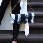 Monochrome Vertical Stripe Leather Clutch/Bag