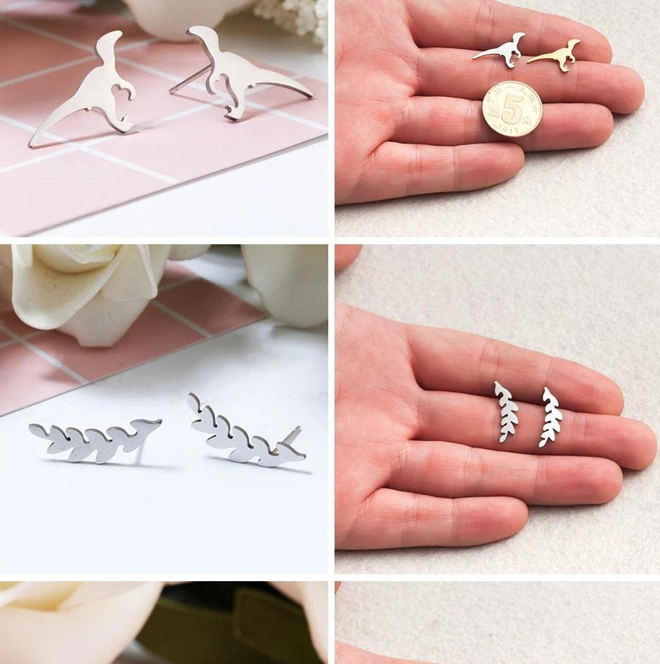 Silver Stainless Steel Super Cute Minimalist Geometric Stud Earrings Collection Stud Earrings Shine Lives Store