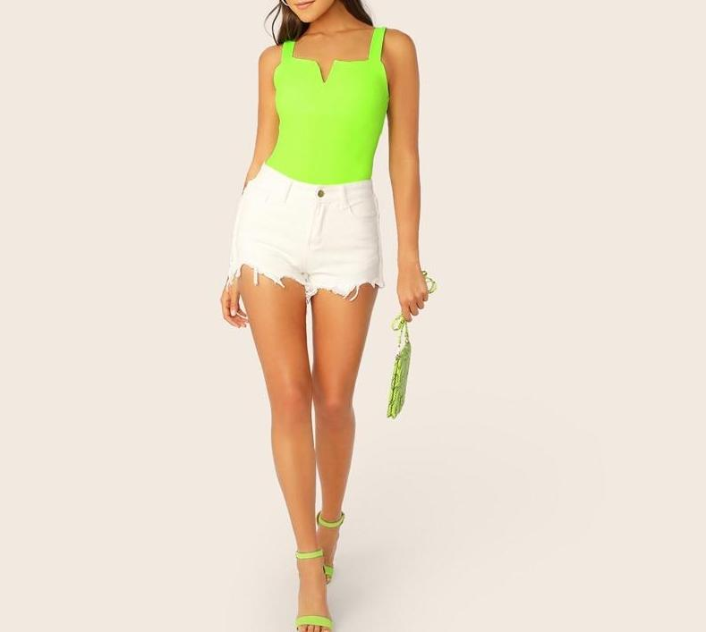 The Minimalist Super Cute V Cut Slimming Bodysuit Bodysuits SheIn Official Store