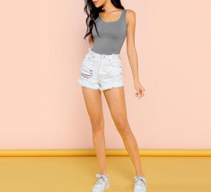 The Simple Heather Grey Square Neck Sleeveless Mid-Waist Bodysuits SheIn Official Store