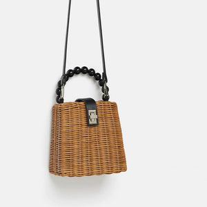 The Poised Rattan Bag Hardware Buckle Straw Bamboo Woven Crossbody Bag and Handbag Top-Handle Bags luminesky Store