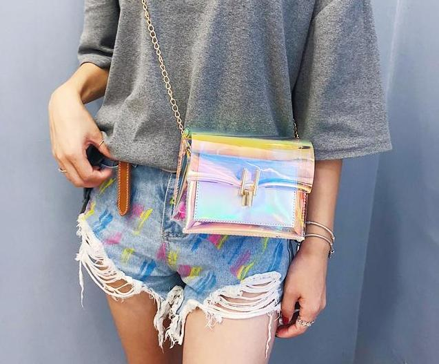 The Shiny Laser Transparent Crossbody Shoulder Messenger Bag Shoulder Bags Noocuxuekon Store