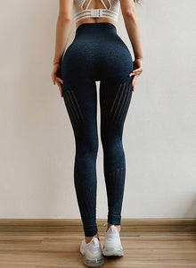 The All-Season Razor Contoured High Waist Seamless Yoga and Gym Leggings Yoga Pants AJISSI Sportwear Store Deep Blue Onyx Razor S