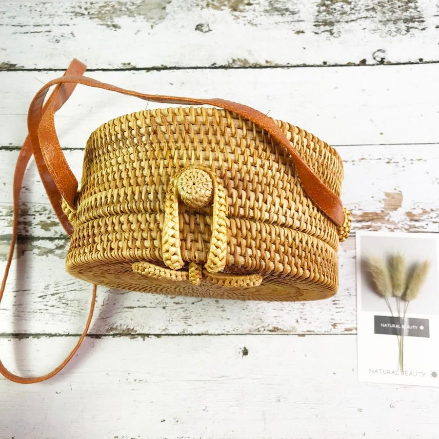 The Bali Island Handmade Woven Rattan Straw Bohemian Shoulder Crossbody Bag Collection Shoulder Bags AOILDLLI Official Store