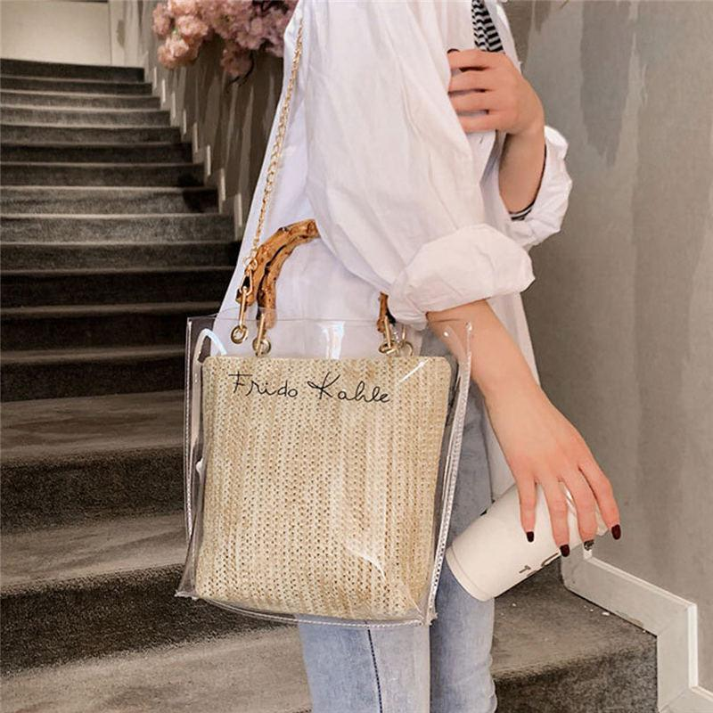Clear as Day Jelly Belly Weave Shoulder Cross Body Bags and Bamboo Handle Handbag - HABIT