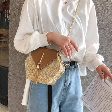 The Bohemian Hexagon Straw Woven Rattan Shoulder Crossbody Bag Shoulder Bags Parcel bag Store