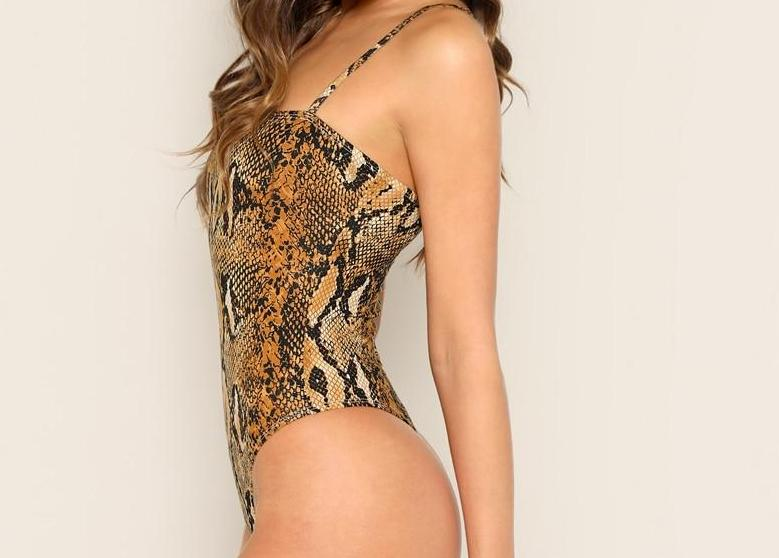 The Animalistic Snake Skin Cami Spaghetti Strap Party Bodysuits Bodysuits SheIn Official Store