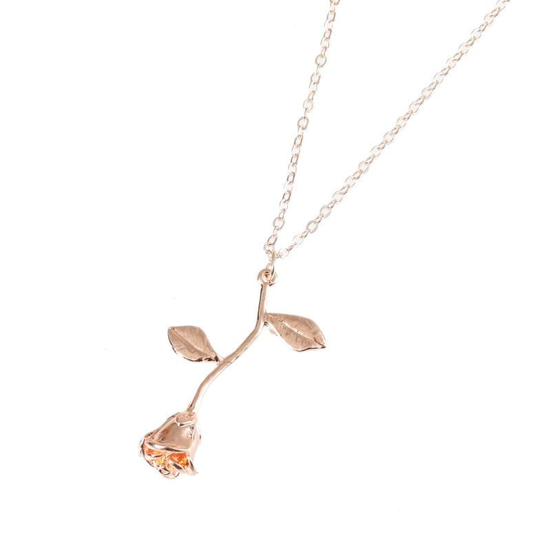 The Flowering Mystical Magical Golden Rose Necklace Pendant Necklaces 2016 women all Accessories Rose gold