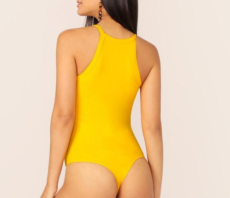 The Minimalist High-Neck Slimming Halter Round Neck Bodysuits For Women - HABIT