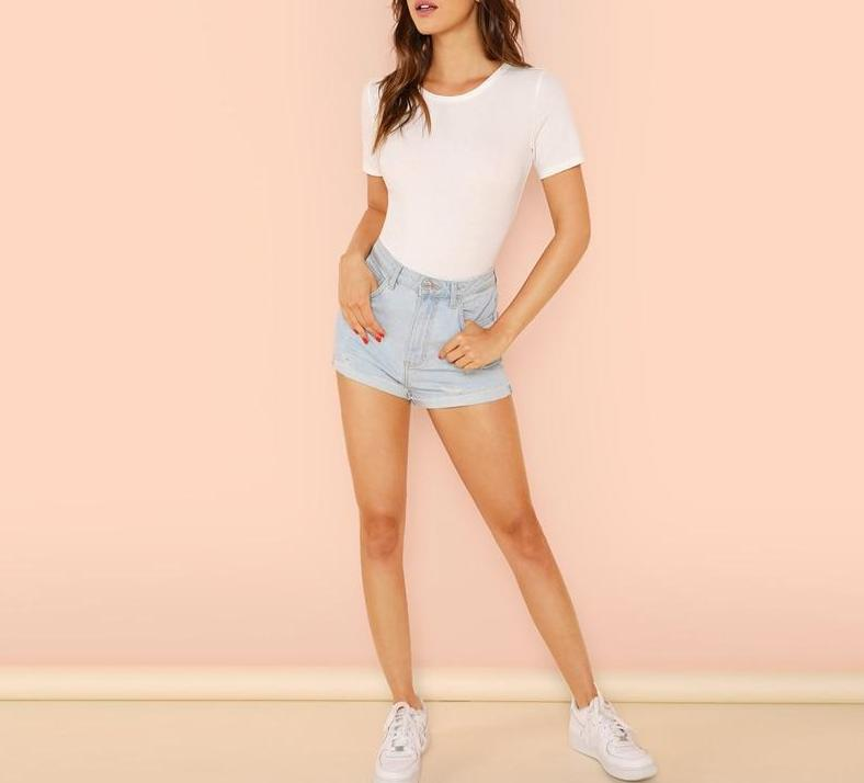 The Casual Short Sleeve Minimalist Solid Form Fitting Crew Neck T-Shirt Bodysuits SheIn Official Store