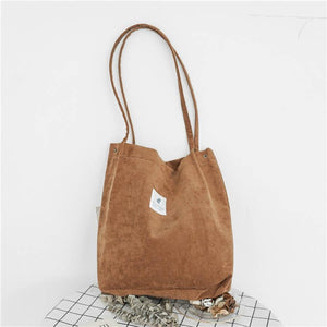 Dream Corduroy Large Shoulder Crossbody Foldable Tote Bag Shoulder Bags Mara's Dream Golden Store