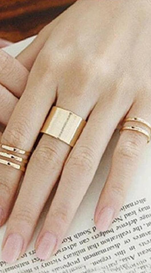 The Femme Fatale Angelic Rock Midi Above Knuckle Band Free Size Adjustable Statement Open Trendy Ring Set (3pcs/set) - HABIT