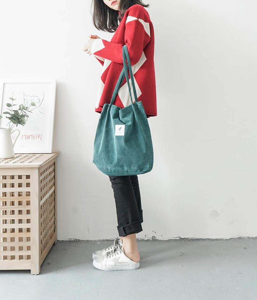 Dream Corduroy Large Shoulder Crossbody Foldable Tote Bag - HABIT