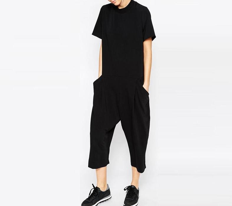 Black Summer Cotton Romper Jumpsuits Panney Qin Store