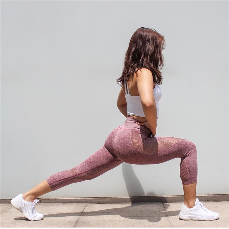 The All-Season 3/4 Length Seamless Mesh Tummy Control Runners' and Yogis' Capri Leggings Yoga Pants COLORVALUE Official Store
