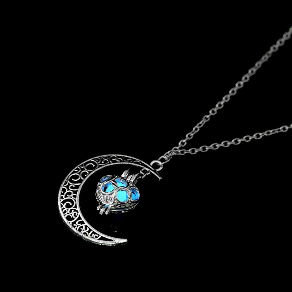 The Enchanted Sun Light Charging and Glowing Gem Stone Moon Charm Necklace Pendant Necklaces FAMSHIN Official Store